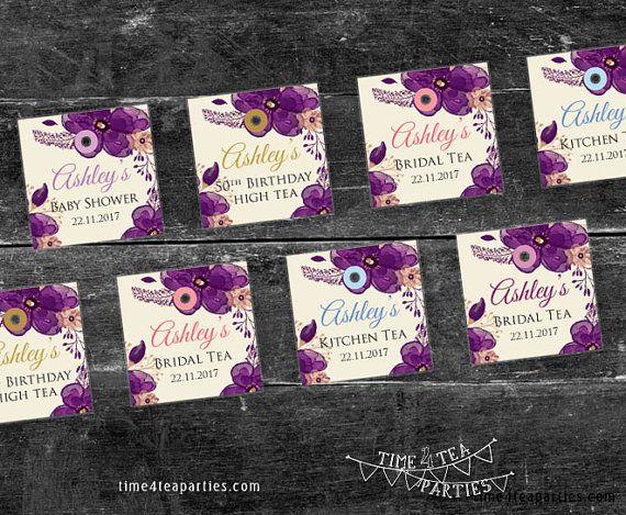 Purple Plum Floral Tea Bag Tags  Bridal Tea  by Time4TeaParties