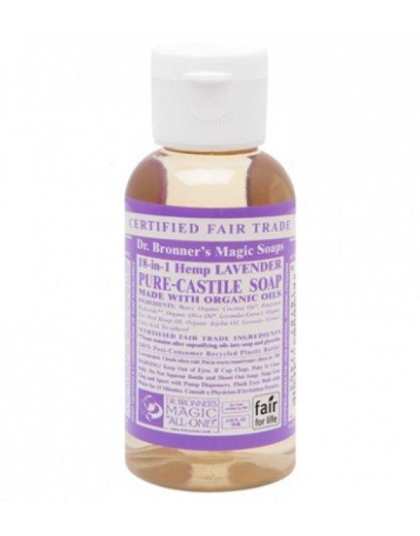 Dr. Bronner's Flytende Såpe Lavender, reisestørrelse, 59 ml