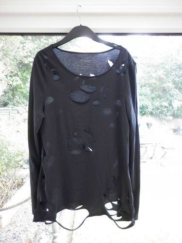 Stunning Ladies Designer River Island Size 16 Goth Grunge Plus Size Jersey Top   eBay