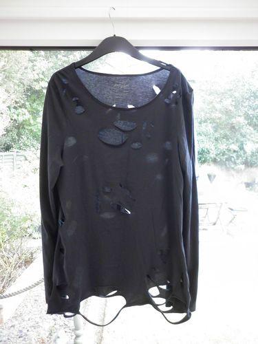 Stunning Ladies Designer River Island Size 16 Goth Grunge Plus Size Jersey Top | eBay