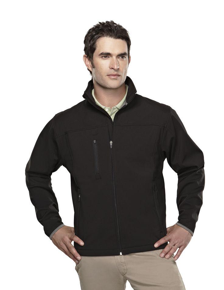Men's Poly Soft Shell Jacket Stretch Bonded.  Tri mountain 6400 #Men #Trimountain #Jacket  #PolySoft