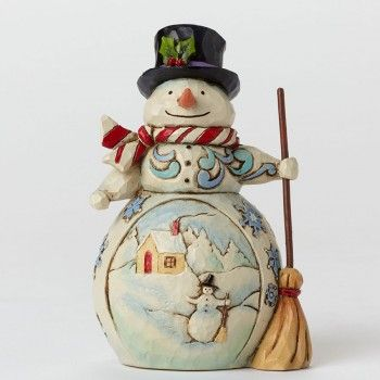 Mini Snowman With Winter Scene Figurine