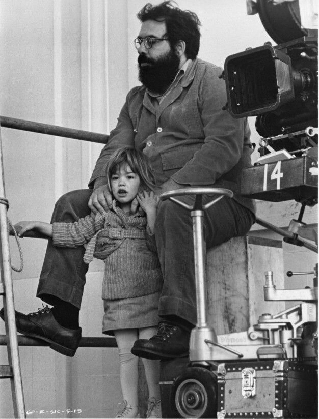 Francis Ford Coppola and his daughter Sophia on the set of The Godfather: Part II, 1974.