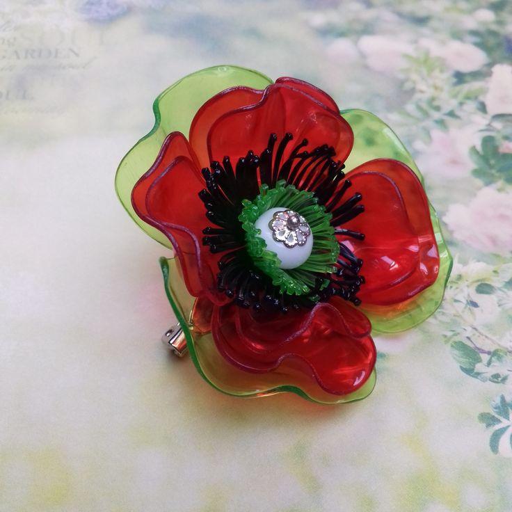 Makulenka - poppy ... made from plastic bottle