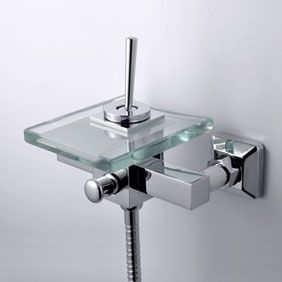 Contemporary Waterfall Tub Tap with Glass Spout Wall Mount T0805-1W  http://www.uktaps.co.uk/bathtub-taps-c-21.html