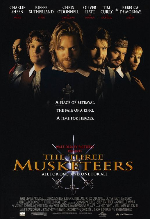 THE THREE MUSKATEERS (1993): A Disney-ized retelling of Dumas' classic swashbuckling story of three swordsmen of the disbanded French king's guard plus one young man who dreams to become one of them, who seek to save their King from the scheming of the Cardinal Richelieu. Jokes and stunts are the expected fare in this light-hearted and jaunty adventure.