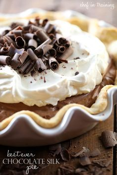 Best Ever Chocolate Silk Pie... This pie is perfection! Silky, creamy, chocolate heaven!