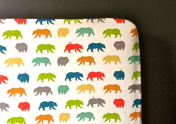 100% organic cotton bear hunt fitted cot/toddler bed sheets on Etsy, $59.00 AUD