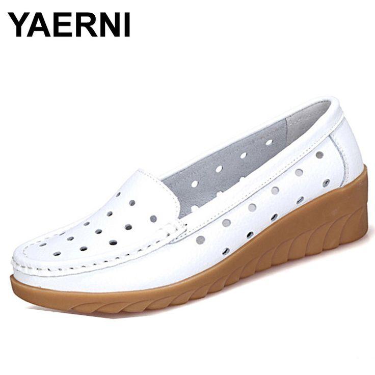 YAERNI Plus Size 10 Summer Women Flat Platform Shoes Woman White Nursing Shoes Cut-out Loafers Slip on Moccasins Shoes XYL1368 #Affiliate