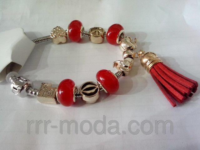 Красный браслет Пандора с кистью. Браслеты с подвесками бижутерии RRR.