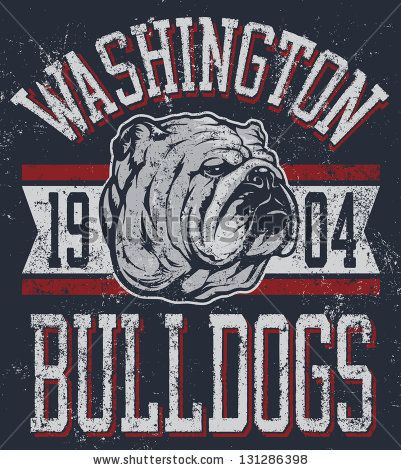 """Three color retro """"Bulldogs"""" athletic t-shirt design complete with bulldog mascot vector illustration, vintage athletic fonts and matching textures (all on separate layers, of course)."""