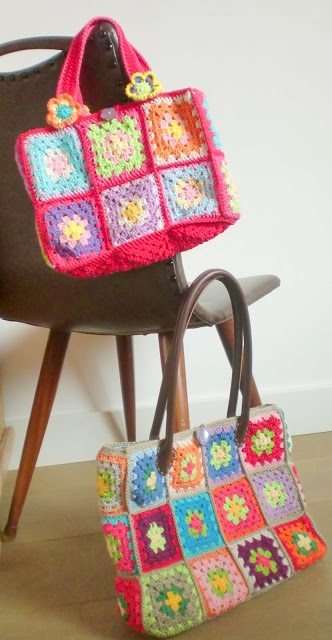 Haken en meer: Patroon beschrijving voor de granny square tas.  Met duidelijike werkwijze binnenkant!