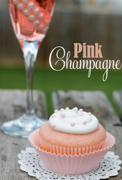 Pink Champagne Cupcakes - Cake:  1 Box White Cake Mix, 1 ¼ C Pink Champagne, 3 Egg Whites, 1/3 C Oil,   3 Drops of Red Food Coloring -Frosting: 1.Container White Frosting   2.Tablespoons Pink Champagne -- See link for instructions