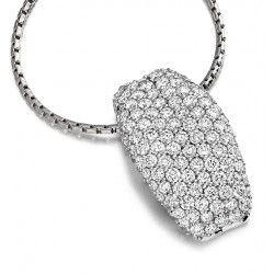 Pandantiv cu Mai Multe Diamante Aur Alb 18kt cu Diamante Rotund Briliant cu Setare Pavata & Lantisor  - RDP026W1
