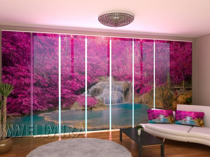 Spectacular Set of Panel Curtains Raspberry Red Waterfall Wellmira ModernCurtains PanelCurtains Curtains