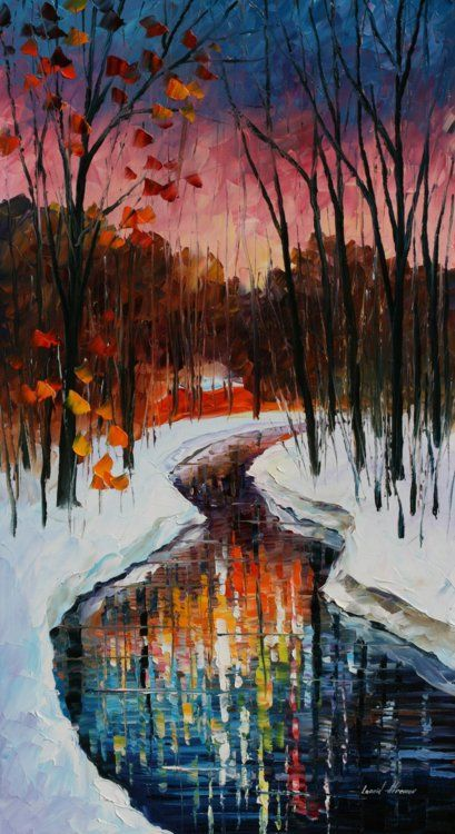 Winter stream, by Leonid Afremov.