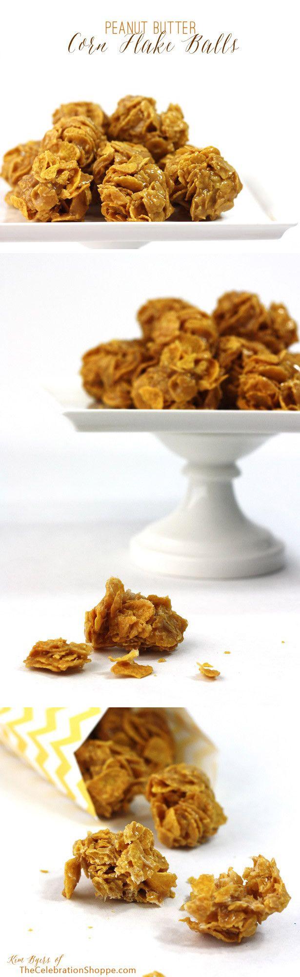 Peanut Butter Corn Flake Balls | Kim Byers, TheCelebrationShoppe.com | Warning... they're addicting! :) #cornflakes #candy #recipe