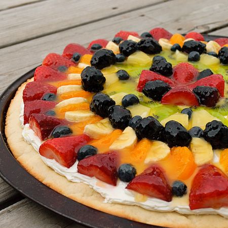 """Fruit Pizza - I think this is the winner for a sugar cookie-like crust that is """"not too sweet"""" and a topping, under the fruit, that is NOT frosting based. I would do this one without the glaze on top of the fruit . . ."""