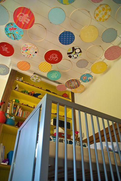 Fabric hoops suspended on ceiling.  (Flickr collection link in article)Embroideryhoop, Ideas, Nurseries, Kids Room, Ceilings Art, Baby Room, Embroidery Hoops, Babies Rooms, Mobile