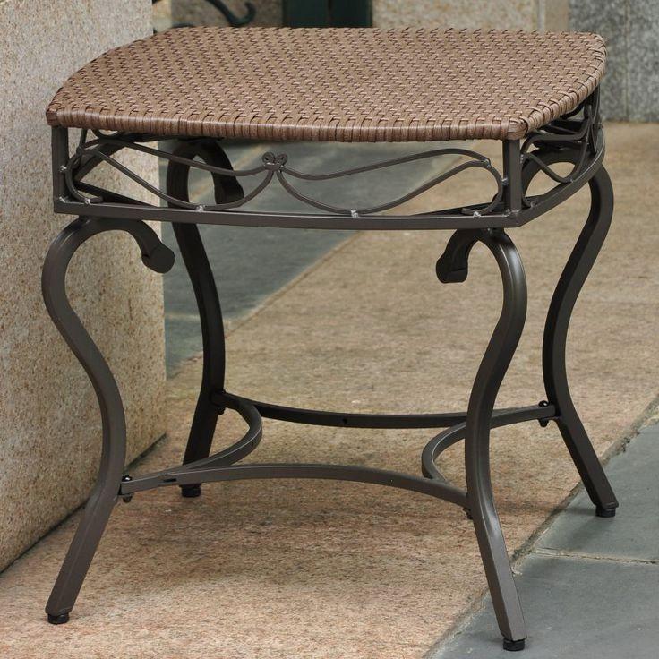 Outdoor International Caravan Lisbon Wicker Contemporary Patio Side Table - 4112-ST-