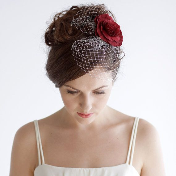 Bridal Birdcage Fascinator with Red Rose by Florentes