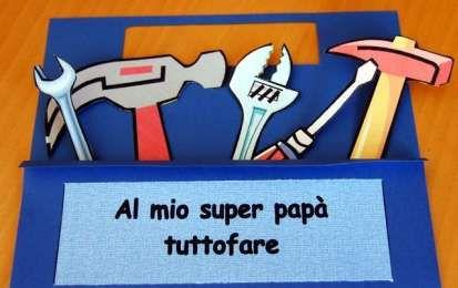 Lavoretti per la festa del papà per la scuola primaria - Biglietto cassetta degli attrezzi