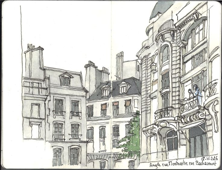 Dessin à l'aquarelle de Paris: angle rue Montmartre et rue Bachaumont.