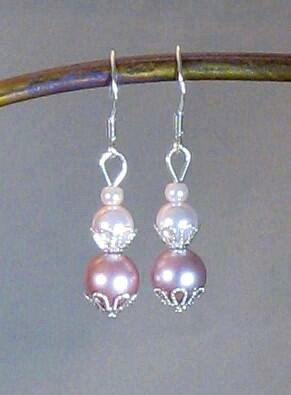 Pink Swarovski Crystal Pearl Drop Earrings    https://www.etsy.com/listing/101261807/pink-swarovski-crystal-pearl-drop