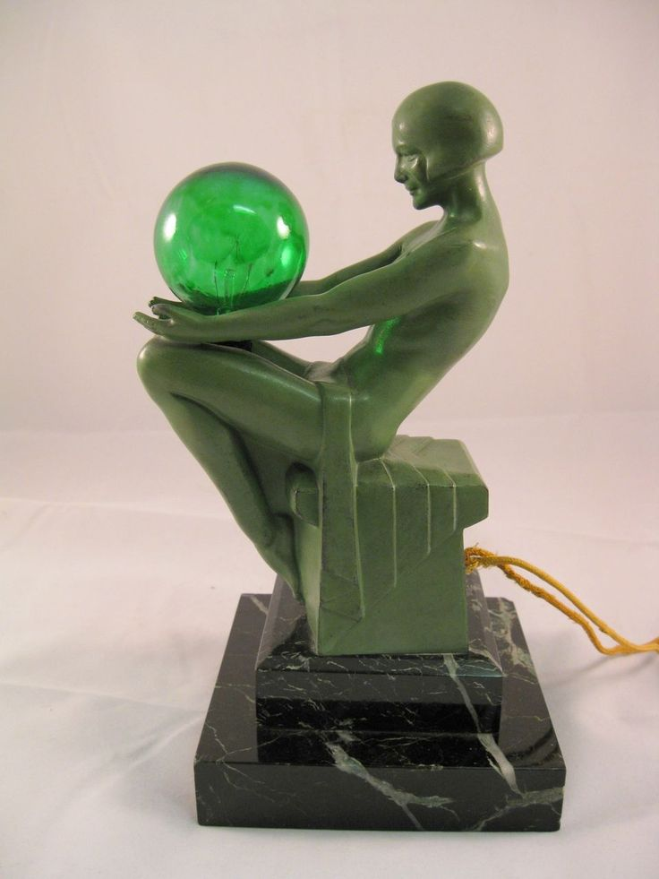 """Small Le Verrier Art Deco Lamp Original small Max Le Verrier lamp """"Enigme."""" 9"""" high, of a nude woman sitting on a marble pedestal holding a green globe bulb."""