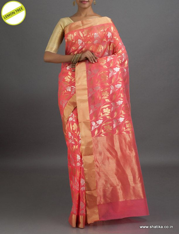 Lemon Tree Gold and Silver Flowers #ChanderiSilkSaree