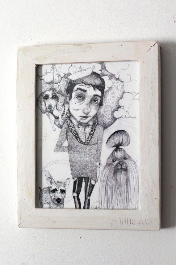 Dog dude illustrationframed print wooden frame by littlerocksPK  http://littlerocksdesigns.com