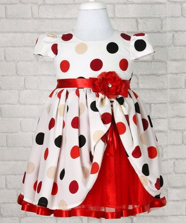 Take a look at this White & Red Spot Short-Sleeve Dress with Corsage by Lindissima on #zulily today!
