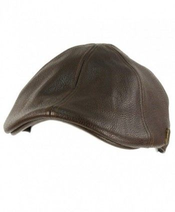 b335d58c9ad Men s Winter Fall Faux Leather Duckbill Ivy Driver Cabbie Cap Hat - Brown -  CP11H6K1KHL
