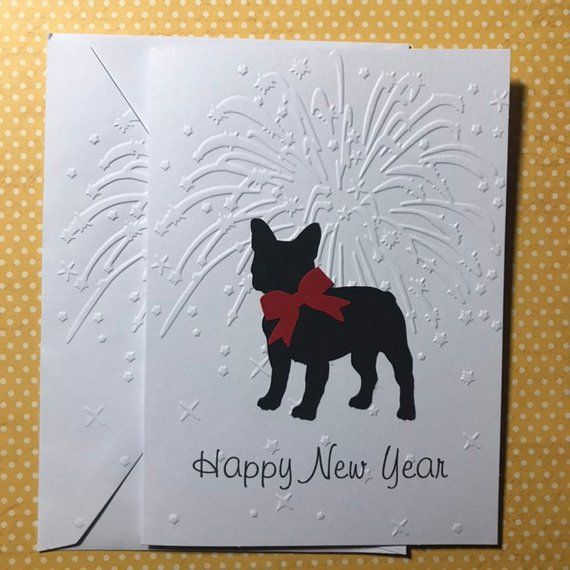 french bulldog happy new year card fireworks cards card dog cards greeting cards stationery set blank note card and envelope