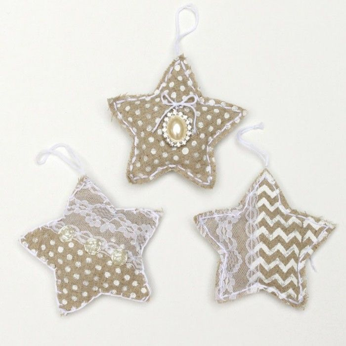 DIY Handmade Christmas Ornaments: Shabby Chic Linen Stars - Morena's Corner.. a stencil and paint are used.. an initial stamped would be cute and used for packages would be great, too.. then they can use them as ornaments later.