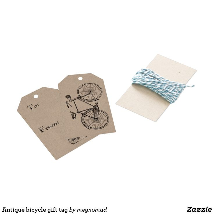 Antique bicycle gift tag