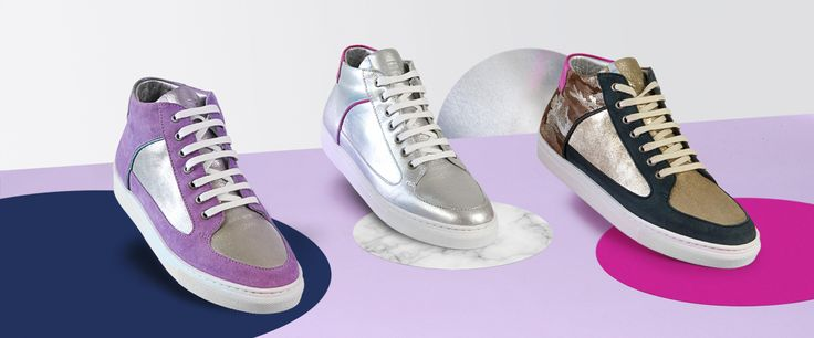 Rose Rankin Simmy Mid-Tops sneakers. Purple/silver Silver/pink Gold/Green. Luxury street-chic sneakers. Limited.
