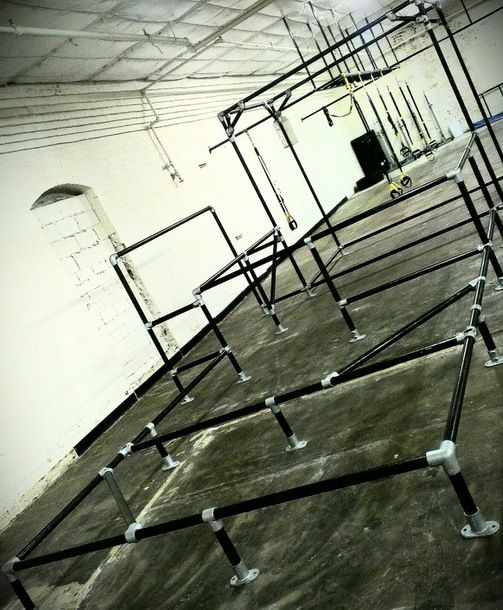 Through Art du Deplacement (Parkour) and MovNat, Urban Movement teaches people how to move. Urban Movement is located in Houston, Texas and has constructed these obstacles made from Kee Klamp fittings.  These obstacles provide a context for their indoor training. The folks at Urban Movement did an amazing job combining the fittings to create a truely unique structure.