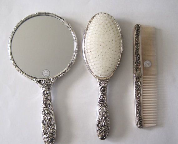 Vintage Antique Collectible Silver Plated Brush, Mirror Comb, Hair Dresser Set