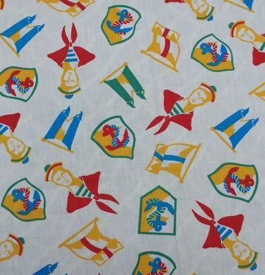 "Retro Fabric Sailors Naval Navy Anchors Flags 57""x47"""
