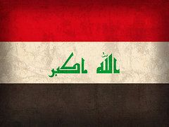 Iraq Flag Art - Iraq Flag Vintage Distressed Finish by Design Turnpike