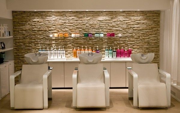 Love this set up for sinks and back bar! Love the stone effect wall too
