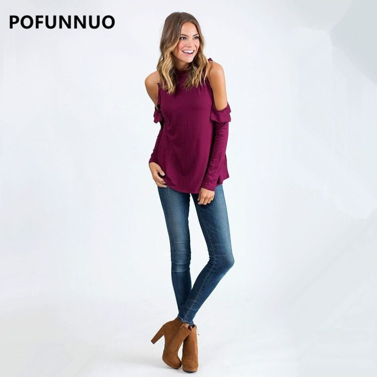 Pofunuo 2017 Women Tunic Top Black Female Casual Long Sleeve Turtleneck Blouse Shirt Orange Ladies Open Shoulder blusa Plus Size
