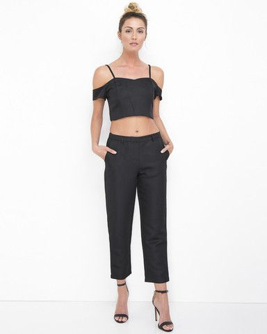 JULIETTE Retro Cigarette Pant Set in Black at FLYJANE | Black Pant Set | Cigarette Pants | Young Contemporary Clothing under $100 at FLYJANE