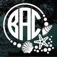 Starfish Circle Monogram car decals & stickers cut any size. Great gift idea for anyone who loves the beach!