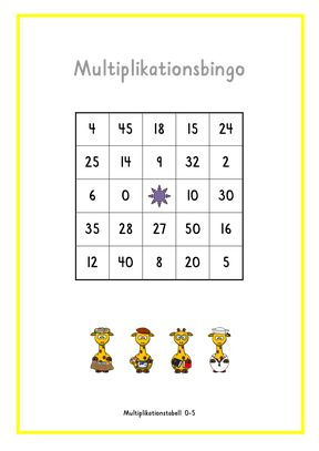 Multiplikationsbingo 0-5