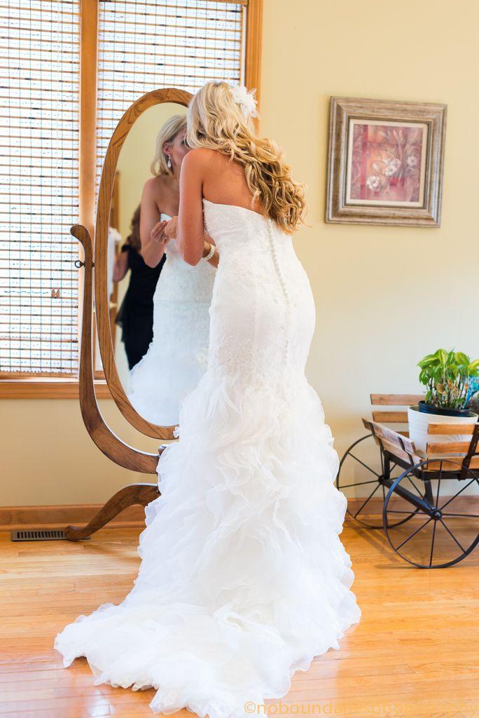 wedding dress. lace and ruffles. Casablanca dress.