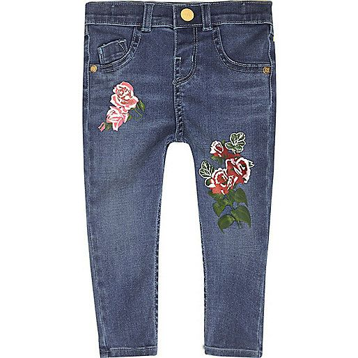 Mini - blauwe skinny jeans met bloemenprint voor meisjes