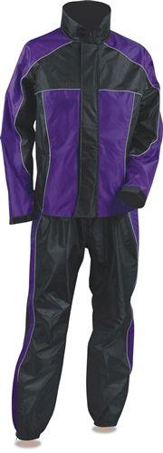 Ladies Nylon Motorcycle Rain Gear Suit - Purple & Black