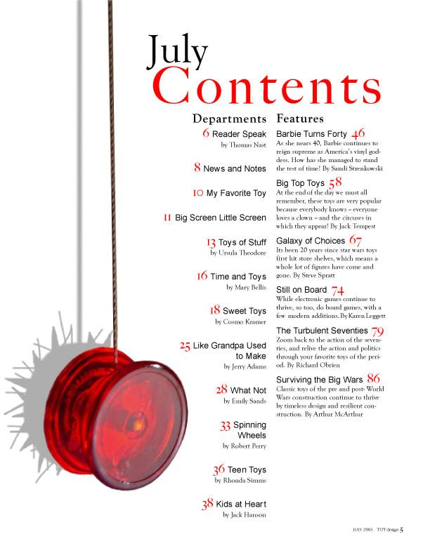 This contents page is one of the simplest designs I have seen. The image that is used on the left side of the page is colour coordinated with the rest of the colour theme on the page. The page numbers are also written in red, to allow them to stand out against the white background. The white background is kept one colour to keep everything clear and readable, which works well.